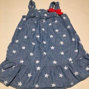 Gymboree Star Chambray Bow Dress 3t Patriotic Girl